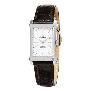Eterna Women's 2410.41.61.1199 'Contessa' White/Silver Dial Brown Leather Strap Swiss Quartz Watch