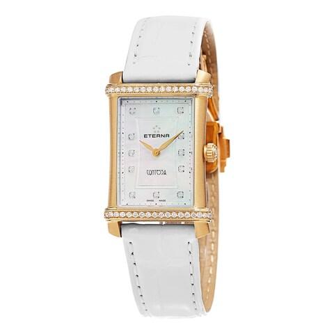 Eterna Women's 'Contessa' Mother of Pearl Diamond Dial White Leather Strap Gold Swis