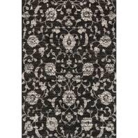Brently Black Floral Rug - 7'7 x 10'6