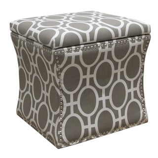 Skyline Furniture Nail Button Storage Ottoman in Trellis Brindle