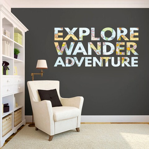 Explore, Wander, Adventure' Printed Map Words Wall Decal