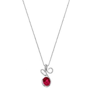 Isla Simone Fine Jewelry Platinum Plated Sterling Silver Heart Cut CZ Necklace