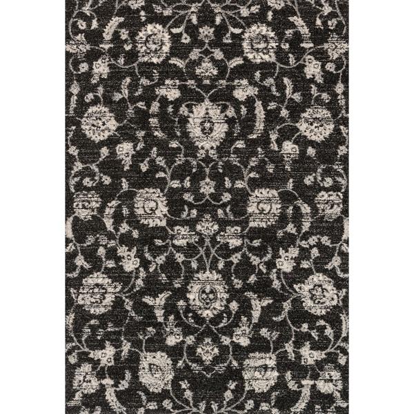 Brently Black Floral Rug (5'3 x 7'7)
