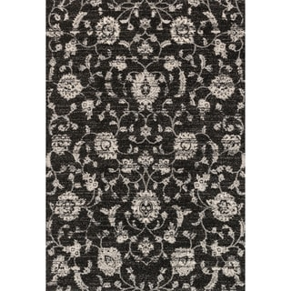 Brently Black Floral Rug (5'3 x 7'7)