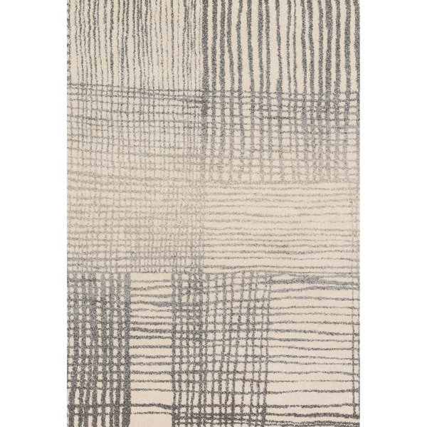Brently Ivory/ Grey Abstract Rug (3'10 x 5'7)