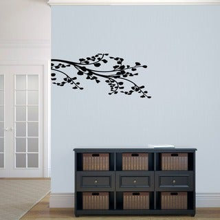Leafy Branch Flourish Wall Decal (16x36)