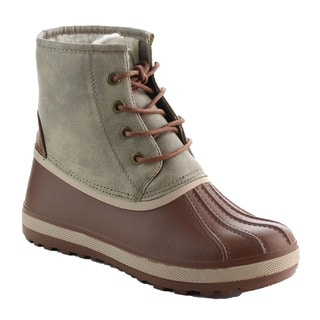 Bamboo Women's Front Lace Up Two-Tone Lug Sole Duck Booties