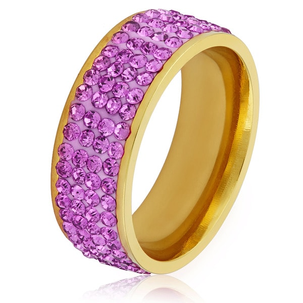 Women's Gold Plated Stainless Steel Purple Crystal Ring