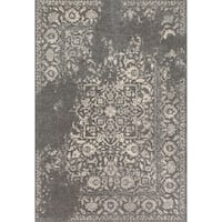Traditional Grey/ Ivory Floral Distressed Rug - 9'2 x 12'7
