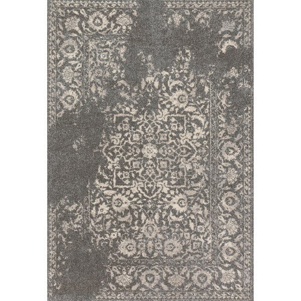 Transitional Grey/ Ivory Floral Distressed Area Rug - 5'3 x 7'7