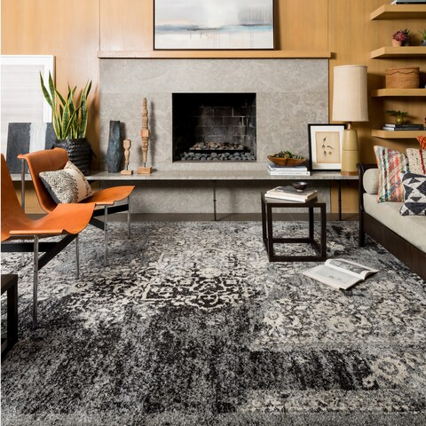 Traditional Black/ Grey Floral Distressed Rug - 9'2 x 12'7