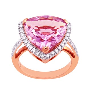 Beverly Hills Charm 14k Rose Gold Pink Amethyst and Diamonds Mother Ring (H-I, SI2-I1)