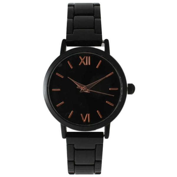 Olivia Pratt Women's Sleek Black Stainless Steel Bracelet Watch