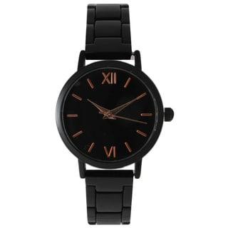 Olivia Pratt Women's Sleek Black Stainless Steel Bracelet Watch