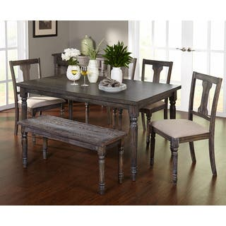 simple living 6pc burntwood dining set with dining bench - Wooden Dining Table With Chairs