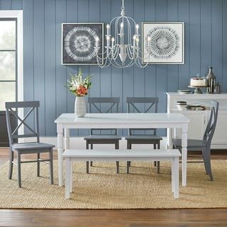 simple living 6 piece albury dining set with dining bench - Dining Room Table With Chairs And Bench