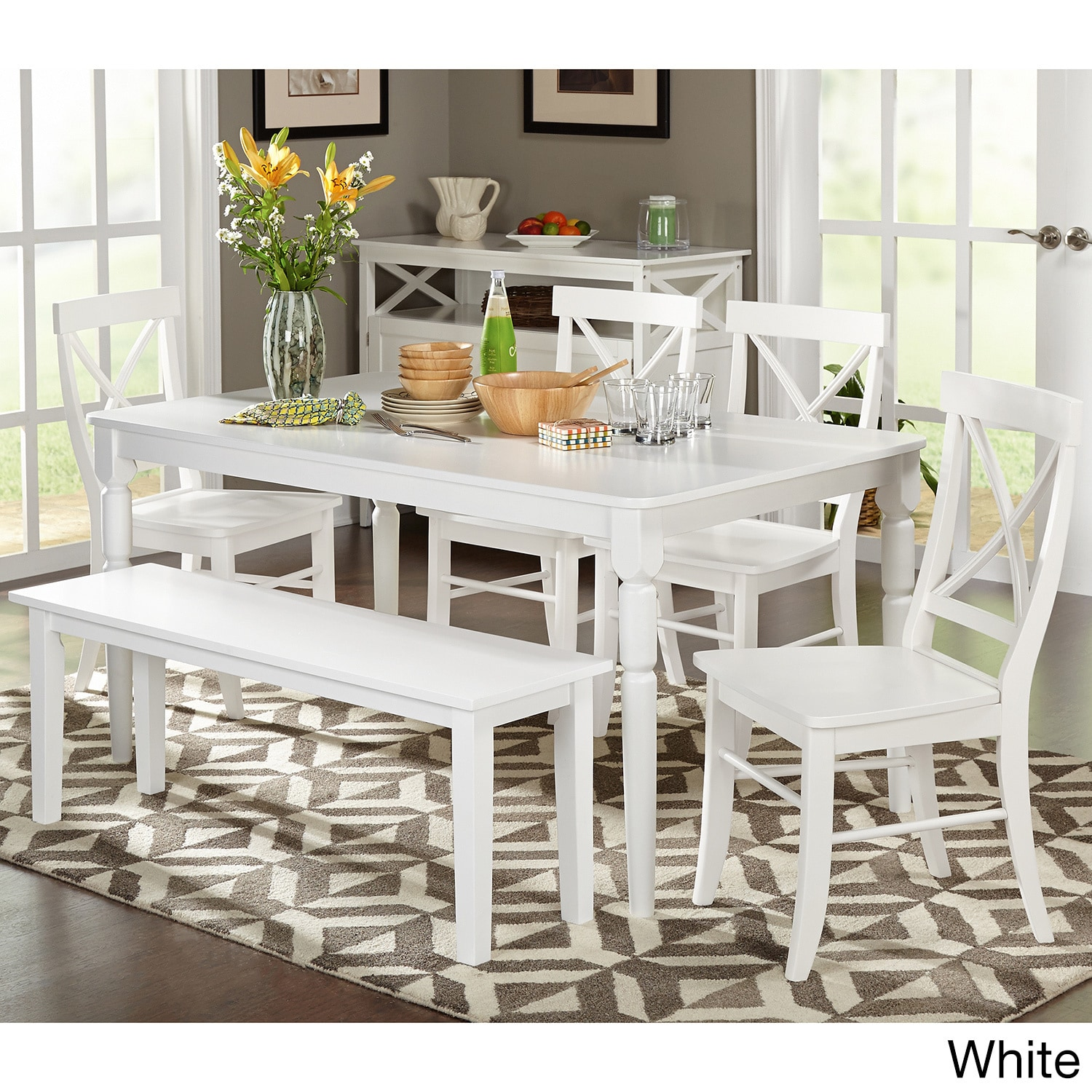 Pleasing Simple Living 6 Piece Albury Dining Set With Dining Bench Squirreltailoven Fun Painted Chair Ideas Images Squirreltailovenorg