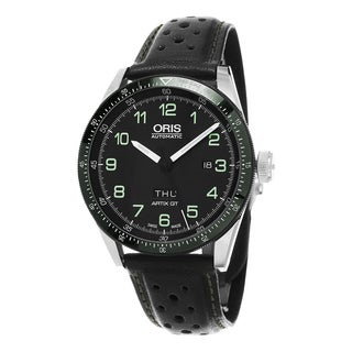 Oris Men's 735 7706 4494 LS 'Artix Calobra' Black Dial Black Leather Strap Day Date Limited Edition Automatic Watch