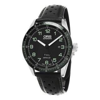 Oris Men's 735 7706 4494 LS 'Artix Calobra' Black Dial Black Leather Strap Day Date Limited Edition