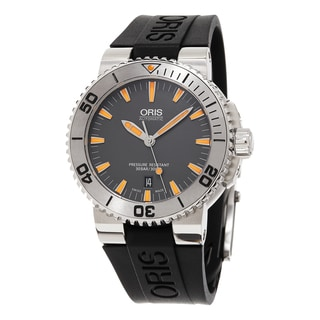 Oris Men's 733 7653 4158 RS 'Aquis' Grey Dial Black Rubber Strap Date Swiss Automatic Watch
