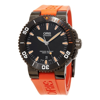 Oris Men's 733 7653 4259 RS2 'Aquis' Black Dial Orange Rubber Strap Date Swiss Automatic Watch