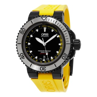 Oris Men's 733 7675 4754 SET 'Aquis' Black Dial Yellow Rubber Strap Depth Gauge Swiss Automatic Watch