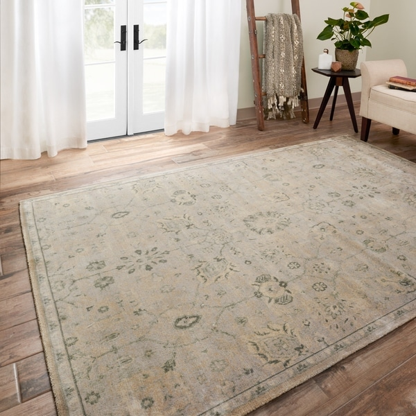 Traditional Distressed Stone Beige/ Blue Floral Rug - 9'2 x 12'2