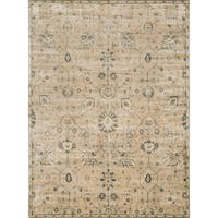 "Traditional Distressed Beige/ Grey Floral Rug - 9'2"" x 12'2"""