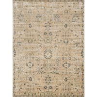 Traditional Distressed Beige/ Grey Floral Rug - 5' x 7'6