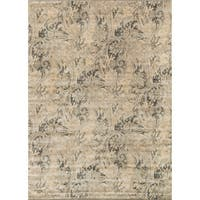 Traditional Distressed Cream/ Grey Floral Rug - 9'2 x 12'2