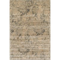 Traditional Distressed Cream/ Grey Floral Rug - 5' x 7'6