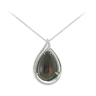 14k White Gold 1/5ct TDW Diamond and Tear Drop Opal Pendant (I-J,SI1-SI2)