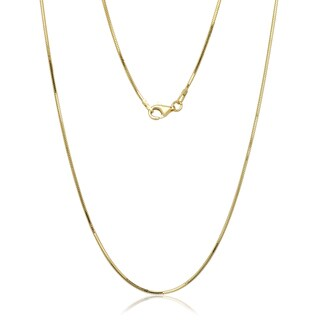 """Italian Gold over Sterling Silver 8-sided Snake Chain (16""""-30"""")"""