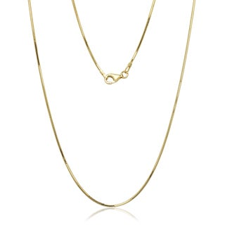 "Italian Gold over Sterling Silver 8-sided Snake Chain (16""-30"") (More options available)"