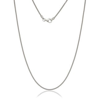 Italian Sterling Silver Rhodium Plated 1 1mm Popcorn Chain 16 30