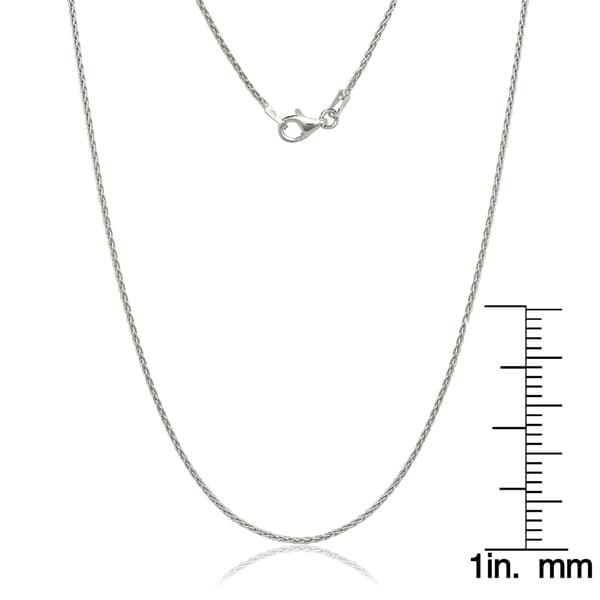 Solid Sterling Silver Rhodium Plated 1.5 Millimeter Spiga Wheat Chain Necklace
