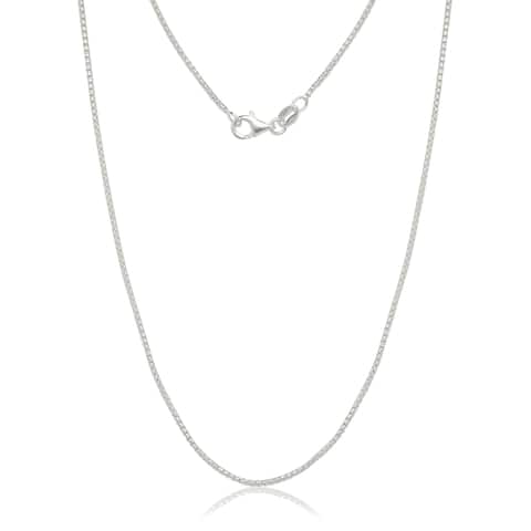 "Italian Sterling Silver 1.25mm Half-round Box Chain (16""-30"") - White"