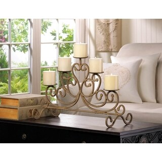 Romantic Scrolling Antiqued Iron Candleabra