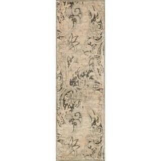 Francis Cream/ Slate Runner Rug (2'4 x 7'9)