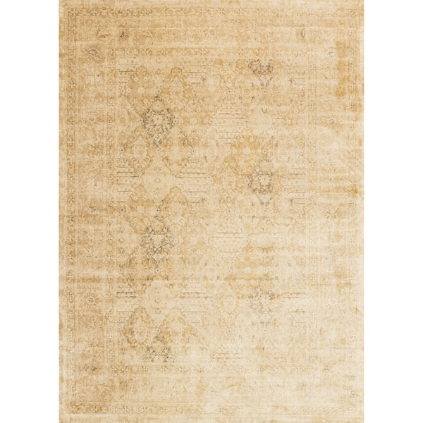 "Traditional Distressed Light Gold Floral Filigree Rug - 9'2"" x 12'2"""