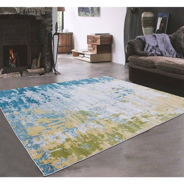 Grey Green Turquoise With Very Light Yellow Indoor Area Rug 5 X27 3