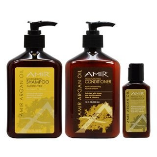 Amir Argan Oil Shampoo and Conditioner 12-ounce Duo with Travel Moisturizer