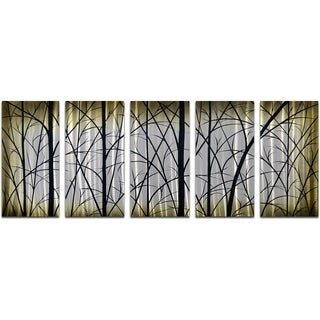 My Art Outlet 'Imposing Trees' 5-piece Handmade Modern Metal Wall Art