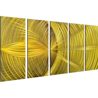 Golden hypnotic sphere 5 Piece Handmade Modern Metal Wall Art