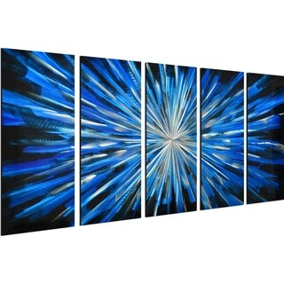 Blue brilliance 5-Piece Handmade Modern Metal Wall Art