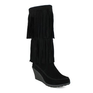 Mark and Maddux Bernice-03 Fringe Moccasin Wedge Women's Knee High Boots