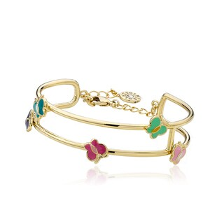 LMTS Girls 14k Goldplated Multi-color Enamel Butterflies Station 2-row Bangle (2 options available)