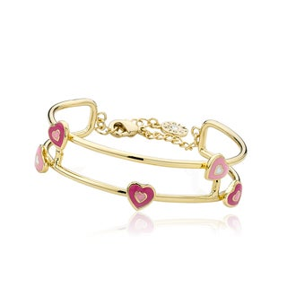 LMTS 14k Goldplated Pink Enamel Heart Bangle