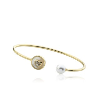 LMTS 14k Goldplated Children's Faux Pearl and Cubic Zirconia Snake Bangle