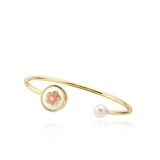 LMTS Girls' 14k Goldplated Pearl Snake Mother of Pearl Flower Bangle